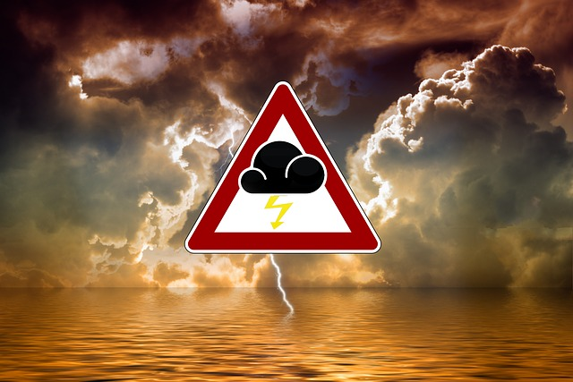 A sign warning of a storm