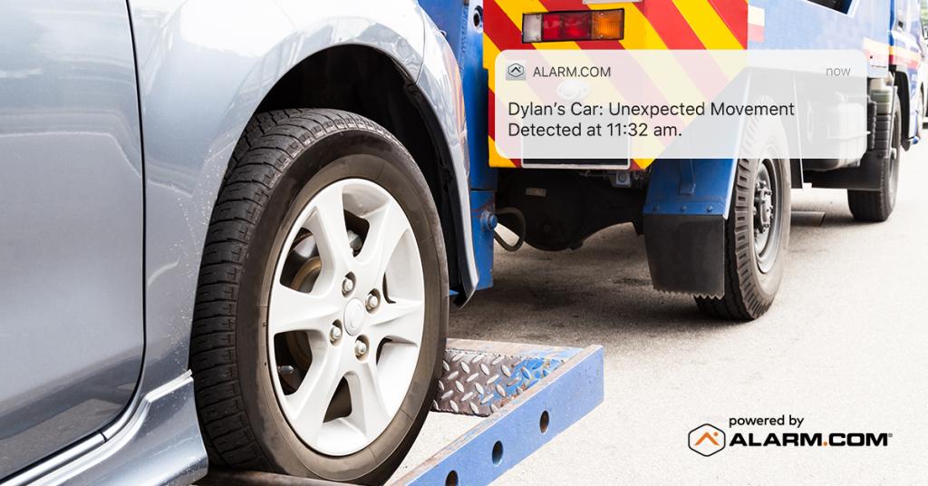 An Alarm.ocm Connected Car alert adviding a customer about unexpected car activity