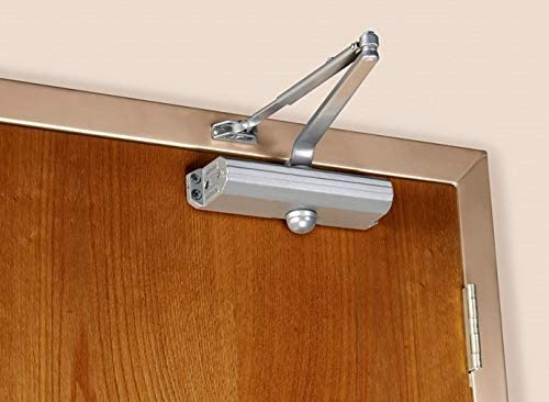 A Norton door closer on a door